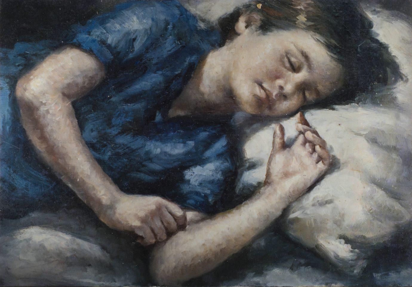 Óleo sobre lienzo Roser Vinardell composicion jordi hijo - fill