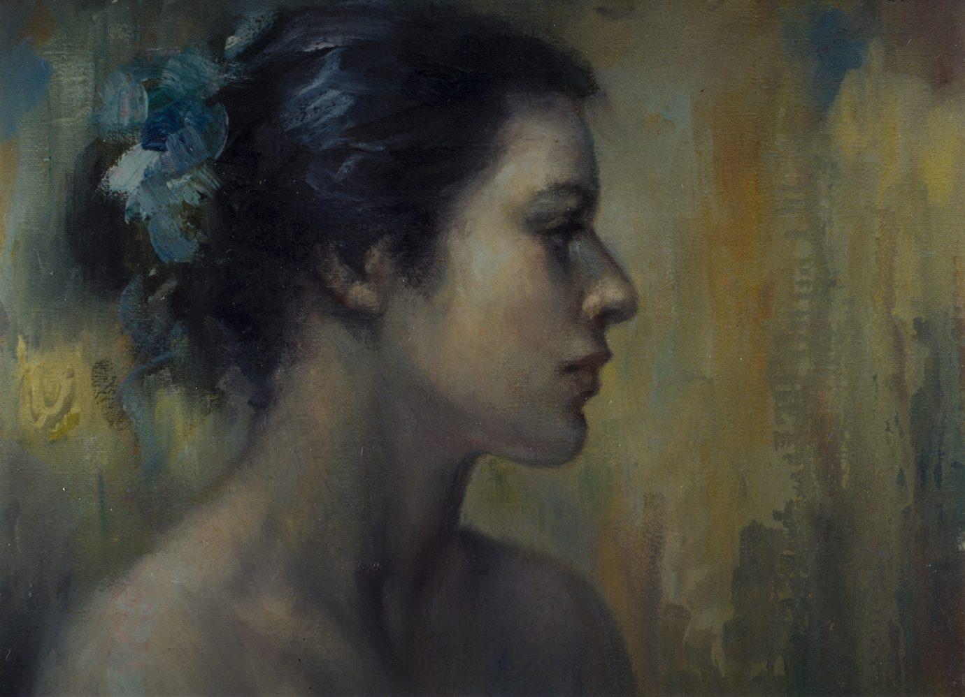 Óleo sobre lienzo Roser Vinardell retrato roser soler vinardell