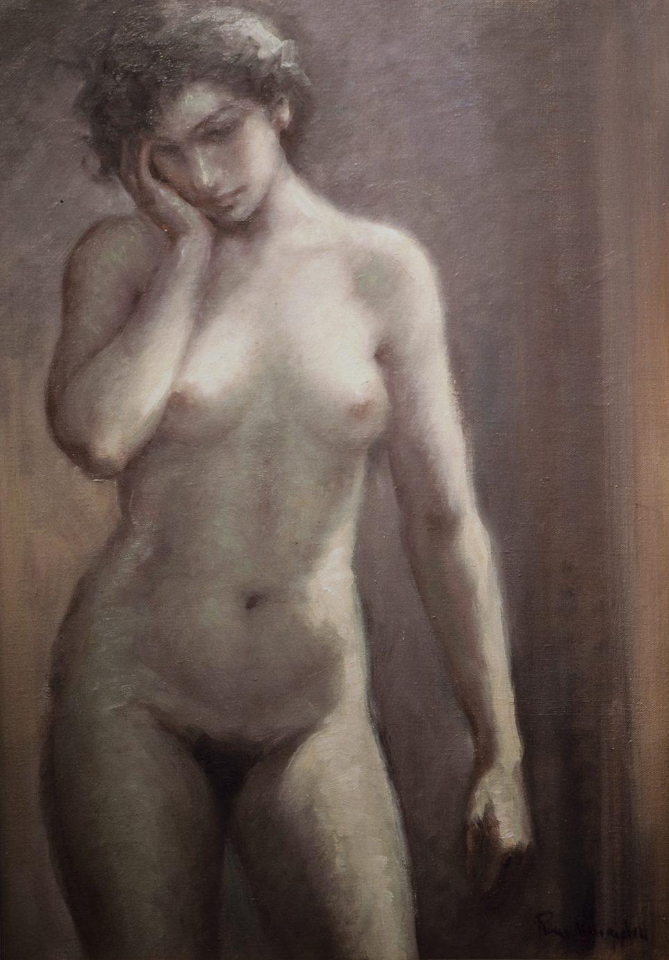 Óleo sobre lienzo Roser Vinardell desnudo frontal