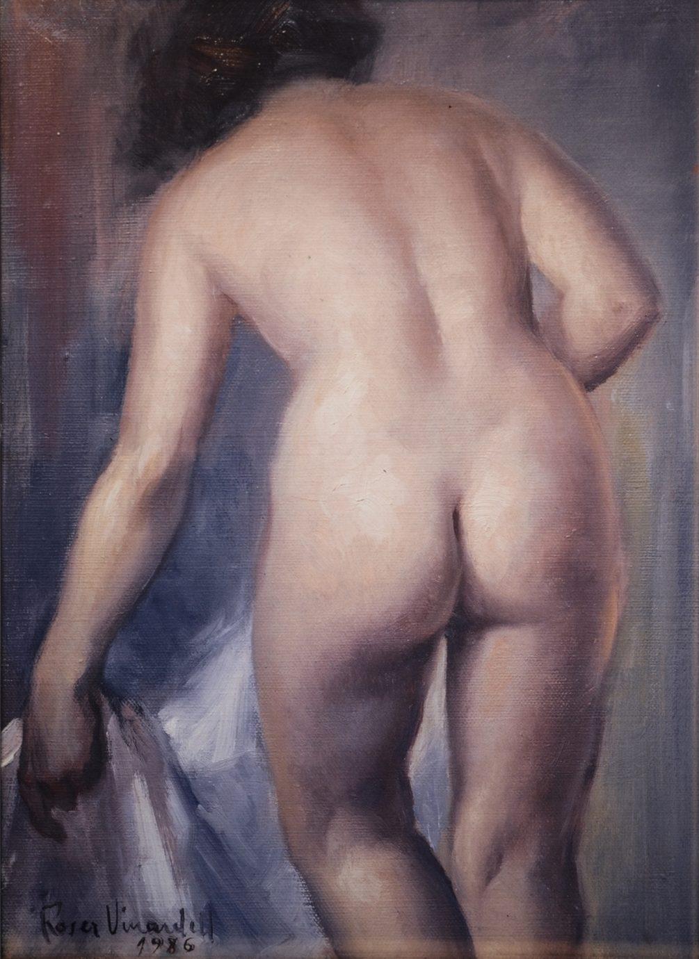 Óleo sobre lienzo Roser Vinardell desnudo espalda