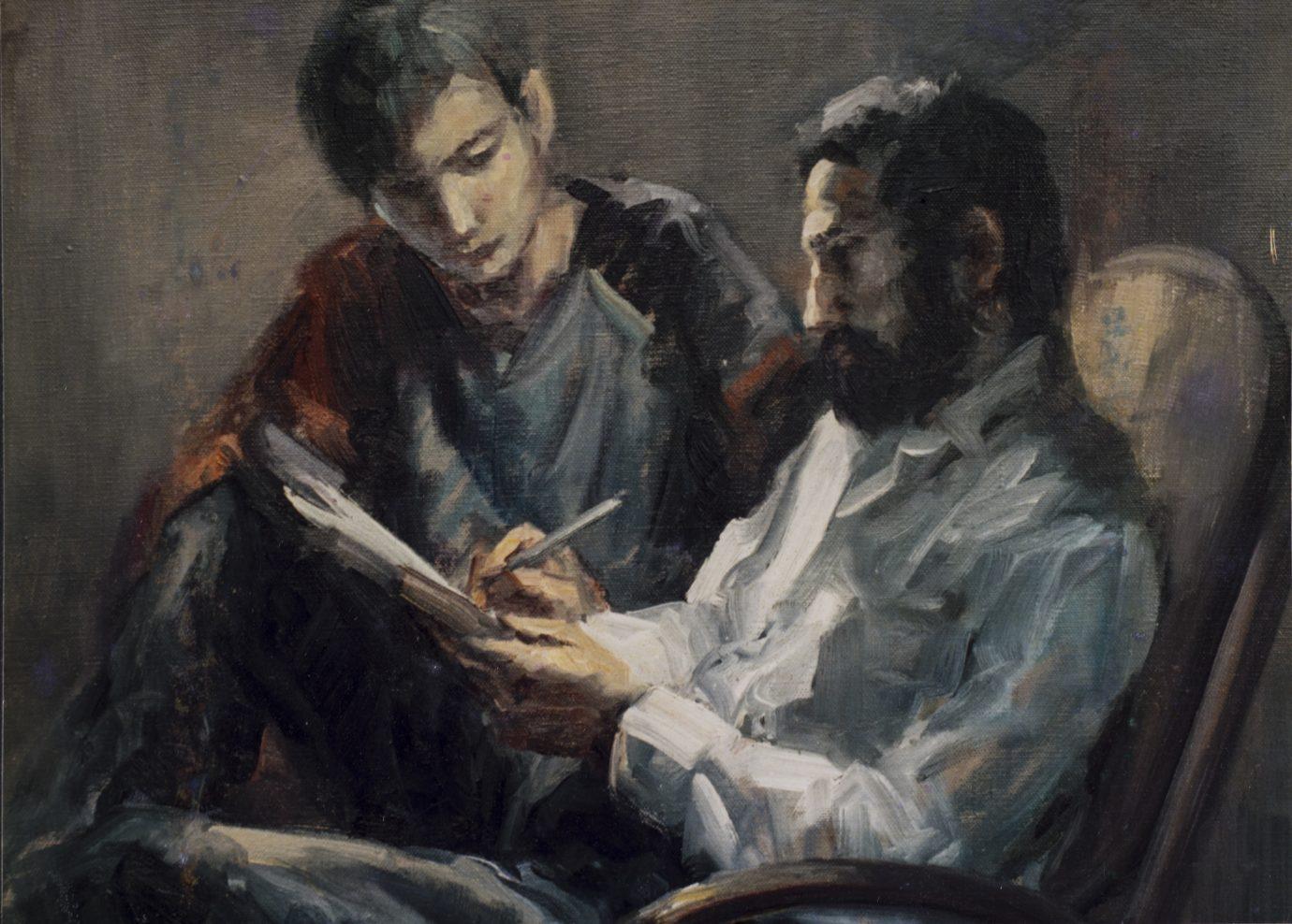 Roser Vinardell - Óleo sobre lienzo composicion Jordi fill - hijo
